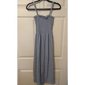 H&M Smocked Crinkled Dress - Blue